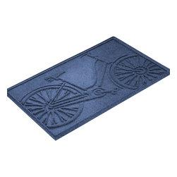 Bungalow Flooring - Aqua Shield 2'x3' Bicycle Mat, Navy - Premium 24-oz. anti-static polypropylene mat traps dirt, water and mud