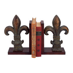 Old World Design - Old World Design Fleur de Lis Bookends - French FleurYour shelves deserve to feel stylish, too! The Fleur de Lis Bookends from Old World Design create some chic company for your books and knickknacks. Made from polyresin, each features a handpainted finish that mimics the aged look of a classic antique. Let the traditional shape add vintage appeal to your home, or use your pair as organizational accessories in an international-inspired space. Your shelves will thank you.Handpainted polyresinSold as a pairMade in China