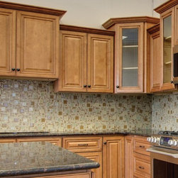 Cinnamon Maple Wall Cabinets - Full line of Raised Panel kitchen Cabinets and Vanities with a large selection of Accessories finished in a Cinnamon Color