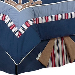 Sweet Jojo Designs - Nautical Nights Bed Skirt Queen - The Nautical Nights Bed Skirt by Sweet Jojo Designs helps complete the look of your room. This skirt, or dust ruffle, adds the finishing touch while conveniently hiding under-the-bed storage.
