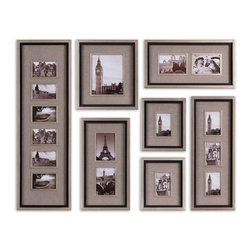 None - Massena Matte Black Photo Frame Collage, S/7 - This collage photo frame set comes with seven different photo frames in a variety of sizes, making this set a fun and unique way to create a collage of memories from your family photos. The antique silver finish adds a unique style to classic design.