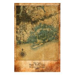 """Maxwell Dickson - Maxwell Dickson """"Map New York City"""" Antique Old Art Canvas Print Artwork - We use museum grade archival canvas and ink that is resistant to fading and scratches. All artwork is designed and manufactured at our studio in Downtown, Los Angeles and comes stretched on 1.5 inch stretcher bars. Archival quality canvas print will last over 150 years without fading. Canvas reproduction comes in different sizes. Gallery-wrapped style: the entire print is wrapped around 1.5 inch thick wooden frame. We use the highest quality pine wood available."""