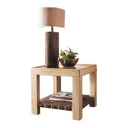 Tommy Bahama Home - Tommy Bahama Road To Canberra Hobart Lamp Table in Moderately Distressed - Tommy Bahama Home - End Tables - 010542954 - The beveled frame with inset glass top reveals a woven leather shelf below finished on the end of each strap with rustic bronze nailhead trim. The leather is a supple aged brown with cross supports underneath so display is welcome.