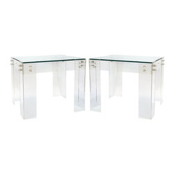 Vintage - Consigned - Pair of Vintage Lucite and Glass End Tables - Pair of Vintage Lucite and Glass End Tables with brass hardware, In the manner of Charles Hollis Jones, Karl Springer