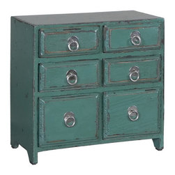 Uttermost - Uttermost 19872  Kadri Accent Chest - Distressed teal green with natural wood undertones and polished silver drawer pulls.