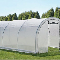 ShelterLogic - GrowIt Organic Growers Pro RoundTop Greenhouse - Round Style - 70577 - Shop for Greenhouses from Hayneedle.com! With a tunneled design that's perfect for experienced growers the GrowIt Organic Growers Pro RoundTop Greenhouse - Round Style features a strong and durable 1.375-inch steel frame with a DuPont powder-coat finish for durability. ShelterLock steel stabilizers on the frame add extra strength. Its water-resistant polyethylene open scrim cover blocks out harmful UVA and UVB rays to help protect your plants. Easy Slide cross rails help to ensure that your cover is fit snugly on the frame. Roll-up side panels and zippered half-moon vents helps to control air flow. This greenhouse is great for extending the growing season starting seeds and growing your favorite fruits vegetables plants and flowers. Additional Features Easy Slide cross rails ensure a snug cover fit Features a tunnel design for experience growers Roll-up side panels help control airflow Zippered half-moon vents help with airflow Extends the growing season About ShelterLogic LLCShelterLogic LLC specializes in manufacturing and distributing a full line of multi-purpose all-weather shelters and accessories for consumer and commercial use. ShelterLogic offers the most diverse shelter product line and is the worldwide leader in innovative shelter design and manufacturing. The company makes shelters for all kinds of weather and custom solutions for every customer's need - from a full line of canopies garages sheds and storage shelters to popular ports greenhouses equine and engineered structures. More than 2 million ShelterLogic all-weather shelters provide protection and stand between valuable possessions and the destructive forces of nature's elements.