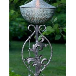 """Passion Torch Blue Verde - SS-09V1 - Spirit Stakes™ Torches add a dramatic focal point for entertaining outdoors with """"flare""""! This Passion torch is crafted in Blue Verde Copper and includes a long-lasting fiberglass wick and Copper snuffer. Large: 14 1/2"""" W x 72"""" H, holds 16 oz. for approximately 24 hours burn time. Medium: 8"""" W x 72"""" H, holds 8 oz. for approximately 12 hours burn time. The stakes are made of durable hand-forged iron which come apart for easy shipping, assembly and storage. As part of the Spirit Stakes Collection you can create unique garden structures and encourage climbing plants by combining with a Hoop or Heart trellis – sold separately."""