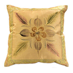 Banarsi Designs - Hand Painted Floral Pillow Cover, Set of 2, Gold - Transform your pillows into a piece of art with our gorgeous floral Hand Painted Deluxe Pillow Cover Set from our Banarsi Designs collection.
