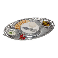 Arthur Court - Grape Entertainment Tray Set/5 - Serve with style, this grape entertainment tray boasts five items to adorn with yummy vittles to share. Traditional appetizers, cheese, olives, crudités — you can present it all on one beautifully crafted coordinated and graceful serving platter.