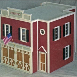 Real Good Toys - Real Good Toys QuickBuild Firehouse Kit - 1 Inch Scale - 80 - Shop for Dollhouses and Dollhouse Furnishings from Hayneedle.com! Precision workmanship gives the Real Good Toys QuickBuild Firehouse Kit - 1-Inch Scale a look of incredible realism. This old-fashioned firehouse crafted from durable 0.375-in. MDF is marked by attention to detail. It boasts milled clapboard exterior walls in vibrant red with cream trim. Among this 2-story open-plan firehouse's features are a fire pole coat rack full staircase and rooftop bracing. Stained and varnished hardwood has been installed on the second floor and this thoughtful design also includes working doors and non-working windows. The firehouse opens from the back for easy access. Kit comes complete with detailed step-by-step instructions and drawings. Recommended supplies include glue masking tape and a screwdriver. Please note that any furnishings or landscaping are not included. This exquisite kit is suitable for use by collectors. As it includes small pieces it's not recommended for children under the age of 3. About Real Good ToysBased in Barre Vt. Real Good Toys has been hand-crafting miniature homes since 1973. By designing and engineering the world's best and easiest to assemble miniature homes Real Good Toys makes dreams come true. Their commitment to exceptional detail the highest level of quality and ease of assembly make them one of the most recommended names in dollhouses. Real Good dollhouses make priceless gifts to pass on to your children and your children's children for years to come.