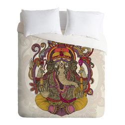DENY Designs - Valentina Ramos Lord Ganesh Duvet Cover - Turn your basic, boring down comforter into the super stylish focal point of your bedroom. Our Luxe Duvet is made from a heavy-weight luxurious woven polyester with a 50% cotton/50% polyester cream bottom. It also includes a hidden zipper with interior corner ties to secure your comforter. it's comfy, fade-resistant, and custom printed for each and every customer.