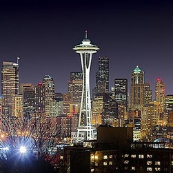 Magic Murals - Seattle Skyline Panorama Wall Mural -- Self-Adhesive Wallpaper by MagicMurals - The iconic Space Needle jumps out of the center of this night time panoramic shot of the skyline of Seattle, Washington in the Pacific Northwest.  The lights of the buildings in this cityscape give the entire image a golden glow.