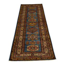 2'x8' Super Kazakh Rug Tribal Design 100% Wool Runner Hand Knotted Sh18099 - Our Tribal & Geometric hand knotted rug collection, consists of classic rugs woven with geometric patterns based on traditional tribal motifs. You will find Kazak rugs and flat-woven Kilims with centuries-old classic Turkish, Persian, Caucasian and Armenian patterns. The collection also includes the antique, finely-woven Serapi Heriz, the Mamluk Afghan, and the traditional village Persian rug.