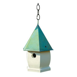 Heartwood - Florentine Bird House White with Verdi Roof - This  beautiful  birdhouse  is  the  perfect  addition  to  any  home  or  garden  of  your  choice.  Verdigris  or  copper  roof  is  the  perfect  topper  for  this  elegant  six-sided  structure  adorned  with  our  new  elliptical  siding  pattern.  Hang  from  the  copper  roof  ring  or  sit  it  on  any  flat  surface  for  great  viewing  pleasure.  This  bird  house  is  one  you  are  sure  to  enjoy  in  the  years  to  come.  Available  in  several  colors.                  8x8x15              1-1/4  hole              Available  in  khaki/brown,  blue  pickle/gold,  white  with  verdigris  roof  and  mustard/brown              Handcrafted  in  USA  from  renewable,  FSC  certified  wood