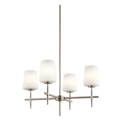Kichler Lighting - Kichler Lighting Arvella Transitional Chandelier X-IN58034 - This 4 light chandelier from the Arvella collection has a delicate and perfectly angled Brushed Nickel frame that holds satin-etched cased opal shades. The clean lines are the heyday of Madison Avenue chic at its most timeless. Sloped ceiling kit included.