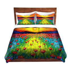 DiaNoche Designs - Duvet Cover Microfiber by John Nolan - Sunlit Poppies - Super lightweight and extremely soft Premium Microfiber Duvet Cover in sizes Twin, Queen, King.  This duvet is designed to wash upon arrival for maximum softness.   Each duvet starts by looming the fabric and cutting to the size ordered.  The Image is printed and your Duvet Cover is meticulously sewn together with ties in each corner and a hidden zip closure.  All in the USA!!  Poly top with a Cotton Poly underside.  Dye Sublimation printing permanently adheres the ink to the material for long life and durability. Printed top, cream colored bottom, Machine Washable, Product may vary slightly from image.