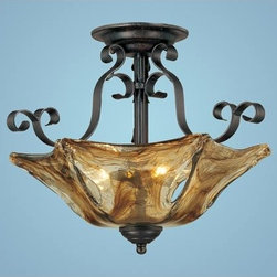 Millennium Lighting - Chatsworth Burnished Gold Three-Light Semi-Flush with Umber Swirl Glass - -Umber Swirl Glass Millennium Lighting - 7133-BG