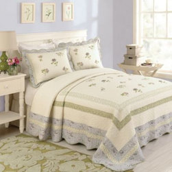 Peking Handicraft Inc. - Karen Bedspread - The expertly crafted Karen bedspread is a fresh new take on a traditional-style bedspread. Beautifully embroidered nosegay florals bloom in romantic shades of violet, lavender, and verdant green on an intricately-quilted ivory cotton ground.