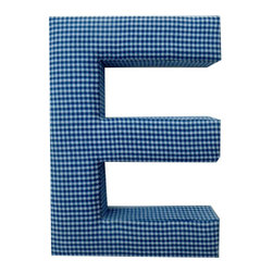Fabric Wall Letters - Blue Gingham - All Uppercase Letters Available, Letter E - Choose our Blue Gingham fabric letters to create your own unique wall art or personalise your little child's bedroom or baby nursery.
