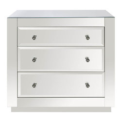 """Worlds Away - Worlds Away - Alicia Mirrored Chest - ALICIA MIR - Worlds Away touches the home with marvelous of-the-moment treasures inspired by vintage finishes, patterns and styles. A contemporary design, the Alicia chest offers bedrooms shimmering glamour. Crafted with a striking beveled mirror exterior, this small dresser's three glide drawers provide practical storage and feature elegant clear glass knobs.Features:Alicia�Collection Chest�Mirrored FinishCrafted and striking beveled mirror exteriorSmall dresser's three glide drawers provide practical storageFeature elegant clear glass knobsContemporary StyleSome Assembly Required Dimensions:�32""""W x 20""""D x 30""""H"""