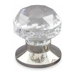 DIAMOND DOOR KNOB - Description:Diamond Cut design Clear Crystal Knob shown with Plain (P) Polished Nickel Rose