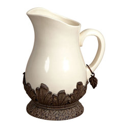 GG Collection - GG Collection Pitcher - Pitcher, Cream Ceramic w/ Brown Metal Base, 126 ounces (3 1/2 - 4 quarts), Care: Ceramic is dishwasher safe, wash metal in mild soap and dry with a soft cloth