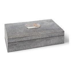 Regina Andrew - Regina Andrew Python W/ Crystal Large Shagreen Box - Large Shagreen Box in python with crystal stone by Regina Andrew.