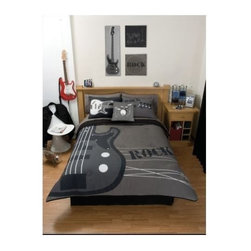 Gray Rock Guitar Comforter Bedding Set, Twin - Keep calm while rocking on in this cozy comforter set.