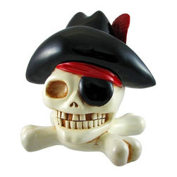 Jumbo Pirate Skull & Crossbones Piggy Bank Money - This huge cold cast resin Pirate Skull and Crossbones piggy bank is ready to store your treasure. The bank measures 11 inches tall, 10 1/2 inches wide and 8 inches deep. The bank empties via a twist off plastic plug on the bottom. It is hand-painted, and makes a great gift for anyone who loves pirates or wants to encourage a savings habit.