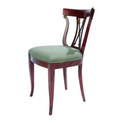 Lyre Back Mahogny Side Chair - Vintage mahogany Lyre Back Style side chair with upholstered seat. Newly upholstered.