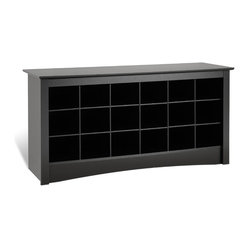Prepac Sonoma Black Shoe Storage Cubbie Bench