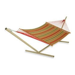 Pawleys Island - Pawleys Island Large Quilted Hammock in Stripe - This large quilted fabric hammock is the perfect addition to a relaxing day. It's made of solution-dyed fabrics with a top layer of DuraCord fabric and reverses from a stylish stripe to a solid.