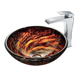 "Vigo Industries - VIGO Northern Lights Glass Vessel Sink and Faucet Set in Chrome - The VG07037 glass vessel bowl features a reddish-orange swirl pattern over a dark black-brown color; resembling a view into outer space. Handmade with possible unique and slight color variations, so no two sinks are identicalVigo Industries is one of the leading full-service distributors of quality kitchen and bath fixtures in the world. From design and manufacturing to distribution and customer service, Vigo Industries controls every aspect of their product, ensuring high standards for design and execution.FeaturesHandmade with possible unique and slight color variations, so no two sinks are identicalSolid tempered glass constructionScratch-resistant glassNon-porous surface prevents discoloration and fadingStain-resistant, easy-to-clean surfacePolished glass interior with textured exteriorAbove-counter installation1 3/4"" standard drain openingThe VG03018CH Blackstonian vessel faucet in chrome finish features a simple, single lever and mineral resistant nozzle.Solid brass construction ensures durability and longer lifeVIGO finishes resist corrosion and tarnishing, exceeding industry durability standardsHigh-quality ceramic disc cartridge ensures maintenance-free use Easy single-hole faucet installationWater pressure tested for industry standard2.2 GPM flow rateAll mounting hardware and hot/cold waterlines includedStandard US plumbing 3/8"" connectionsIncludes solid brass pop-up drain and solid brass mounting ring, both in matching finishSink measurements:Diameter: 18 1/8""Height: 6""Glass thickness: 5/8""Faucet measurements:Overall height: 11 1/2""Spout height: 9 3/4""Spout reach: 8 1/4""Standard 1 3/8"" diameter opening is required for this faucetThis VIGO glass vessel bowl is cUPC certified by IAPMOADA compliantLimited Lifetime Warranty from Vigo View Spec Sheet for Faucet View Spec Sheet for Vessel Sink"