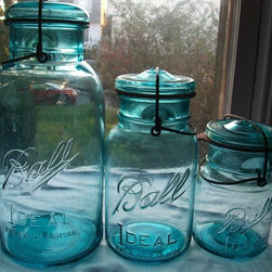 15 Vintage Blue Ball Jar Pints by Mattlaurajones - I totally adore these lovely vintage jars from Ball. They look so elegant in that wonderful shade of blue and are perfect for canning!