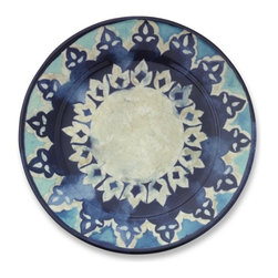 Blue Byzantine Dinner Plates, Set of 4 - I love these plates inspired by antique hand-painted ceramics with a Mediterranean blue palette. Don't worry though, they are made of BPA-free melamine that won't shatter.