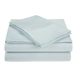 """450 Thread Count Supima Cotton Sheet Set - California King - Light Blue - These Supima cotton sheets feature a 450 thread count and are available in 7 different colors. Set includes: (1) Flat 102x106"""", (1) Fitted 72x84"""", and (2) Pillowcases 20x40""""."""