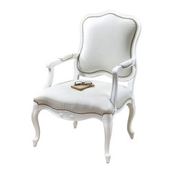 Willa Pearl Armchair - Influenced by the appointments of country estates in Yorkshire, the Willa Pearl Armchair is a delightful blend of traditional beauty and modern comfort. Gloss white enamel on a carved, solid white poplar wood frame features reinforced joinery. The supple, white faux leather is accented with individually hammered, polished nickel nails.