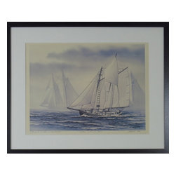 """Consigned Vintage Sailboat Painting, Where Schooners Ride - Signed Lithograph, 14/500, August 1982. Titled """"Where Schooners Ride""""."""