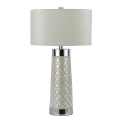 Candice Olson - Candice Olson Trellis Quilt Contemporary Table Lamp X-LT-1048 - From the Trellis Quilt Collection, this Candice Olsen contemporary table lamp features just the right amount of texture and detailing for plenty of visual interest. The clean finishes compliment the trellis-style detailing while a white poly silk hard back drum shade adds to the stylish look.