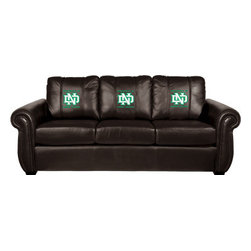 Dreamseat Inc. - University of North Dakota NCAA ND Chesapeake Brown Leather Sofa - Check out this Awesome Sofa. It's the ultimate in traditional styled home leather furniture, and it's one of the coolest things we've ever seen. This is unbelievably comfortable - once you're in it, you won't want to get up. Features a zip-in-zip-out logo panel embroidered with 70,000 stitches. Converts from a solid color to custom-logo furniture in seconds - perfect for a shared or multi-purpose room. Root for several teams? Simply swap the panels out when the seasons change. This is a true statement piece that is perfect for your Man Cave, Game Room, basement or garage.