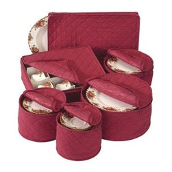 Richards Homewares - China Storage 6-Piece Set, Crimson Red - Our quilted china dinnerware storage containers are perfect for storing your fine china safely and out of the way. A great way to store Christmas dinnerware! These storage containers feature quilted foam dividers for added protection that come in four sizes for plates, platters and cups. The cup protector is divided and the plate protectors each hold up to twelve places with dividers included.