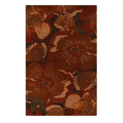 Surya - Surya Country & Floral Athena Sepia  Burnt Sienna 5'x8' Rectangle Area Rug - Simple and elegant designs hand tufted in 1% wool  the rugs of the Athena Collection complement transitional to contemporary interiors. With a color palette of rich warm earth tones in brown  red  blue and gold  these hand crafted pieces blend seamlessly with any environment.  And  available in more than twenty sizes  we are certain you will find a rug to fit your space.