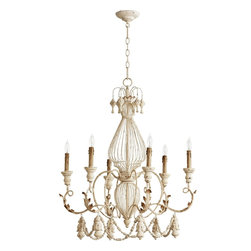 Quorum Lighting - Quorum Lighting Salento Traditional Cage Chandelier X-07-6-6036 - From the Salento Collection, this delicate design features fluid curved arms, hanging details and a beautiful Persian White finish that gives it a subtle shabby chic appeal. This eye-catching Quorum Lighting chandelier features six candelabra lights and botanical inspired accents to complete the look.