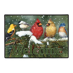 355-Backyard Birds Doormat - 100% Polyester face, permanently dye printed & fade resistant, nonskid rubber backing, durable polypropylene web trim. Use on the porch or near your back entrance to the house. Indoor and outdoor compatible rugs that stand up to heavy use and weather effects