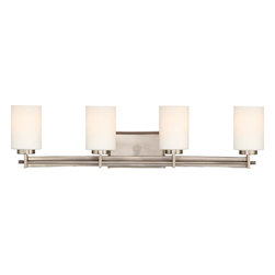 Quoizel - Quoizel Antique Nickel Bathroom Fixtures - SKU: TY8604AN - Linear style and precise design are the elements of this strong contemporary collection. The opal etched glass compliments both the western bronze as well as the antique nickel finishes. With a variety of styles to choose from, Taylor will enhance any room in your home.