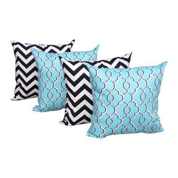 Land of Pillows - Drammen Aqua Blue and Chevron Black and White Outdoor Throw Pillow - Set of 4, 1 - Outdoor Black & Blue Pillow Set - Chevron & Drammen