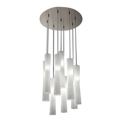 """EviStyle - EviStyle Frise SO9 Suspension Lamp - The Frise SO9 Suspension Lamp was designed by Andrea Lazzari for EviStyle. Hourglass shape with silk white rippled diffuser on a pendant light creates an Euro, artistic take on modern design from the Frise collection by Andrea Lazzari. This exclusive light is chic with a touch of flair that will work in any contemporary style room.  Lamp collection with metal frame in nickel satin finish, gold satin finish or copper satin finish; hand-made glass diffuser available in the following colours: silk white, black, gold, silver and metallized copper.   Product description: The Frise SO9 Suspension Lamp was designed by Andrea Lazzari for EviStyle. Hourglass shape with silk white rippled diffuser on a pendant light creates an Euro, artistic take on modern design from the Frise collection by Andrea Lazzari. This exclusive light is chic with a touch of flair that will work in any contemporary style room.  Lamp collection with metal frame in nickel satin finish, gold satin finish or copper satin finish; hand-made glass diffuser available in the following colours: silk white, black, gold, silver and metallized copper. Details:                         Manufacturer:            EviStyle                            Designer:                        Andrea Lazzari                                         Made in:            Italy                            Dimensions:                        Small:Height: 11.8"""" (30 cm) X Diameter: 2.8"""" (7 cm) X Canopy Diameter:23.6"""" (60 cm)             Large:Height: 19.1"""" (48.5 cm) X Diameter: 3.4"""" (8.5 cm) X Canopy Diameter:23.6"""" (60 cm)                                         Light bulb:                        9 x G9 Max 42W Halogen                                         Material            Aluminium"""