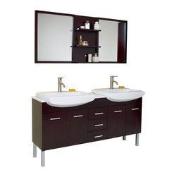 Fresca - Vetta Espresso  Double Sink Bathroom Vanity w Mirror (Bevera Chrome - 2 Pcs.) - Choose Included Faucets: Bevera Chrome - 2 Pcs.Single Hole Faucet Mounts (Faucets Shown In Picture May No Longer Be Available So Please Check Compatible Faucet List). Soft Closing Drawers and Doors. P-traps, Faucets, Pop-Up Drains and Installation Hardware Included. With overflow. Sink Color: White. Finish: Espresso. Sink Dimensions: 20.5 in. x12 in. x6.25 in. . Mirror: 59.75 in. W x 25.5 in. H x 5.25 in. D. Materials: Solid Oak Wood, Ceramic Sinks with Overflow, Marble Countertop. Vanity: 59.75 in. W x 19 in. D x 32.25 in. HThe Vetta is a great double sink vanity with an espresso finish on solid oak wood that fits every desire. Clean lines and slim details create a sleek modern urban creation that calmly brings a bathroom together. Details such as chrome hardware and a white ceramic basin complete a streamlined look that brings a touch of class to any decor. This vanity features soft closing hinges on side doors, self closing top quality mechanism on the pull-out shelves.