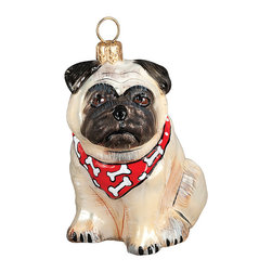 Frontgate - Pug Fawn with Bandana Ornament - Each ornament takes up to 7 days to produce. Constructed of 100% European-made glass. Arrives in a handsome black lacquered box for gifting and safekeeping. Hanger is included for easy display. Our collectible Pug Fawn with Bandana Ornament from Joy to the World was created with the utmost attention to quality and detail. The finest artisans in Poland individually mouth blow and hand paint each ornament, achieving new levels of innovation and artistic integrity in their designs. Using only traditional old world production methods and materials sourced from European countries, they ensure that each ornament is an impressive work of art that will be treasured for generations.  .  .  .  . Made in Poland.