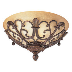 Thomasville Lighting - Thomasville Lighting P3461-75 Messina 2 Light Flushmount Ceiling Fixture - Thomasville Lighting P3461-75 Two Light Messina Flush Mount Ceiling FixtureClassic Art Nouveau styling comes together with rustic Sepia Haze Glass for a beautiful dual light Flushmount ceiling fixture with plenty of character. A rich Aged Mahogany finish rounds out this elegant fixture, sure to bring elegance and delight to any home.Refresh interior settings with Messina�s iron scroll basket motif and traditional hand-painted accents. An Aged Mahogany finish is complemented by decorative leaf details in this collection.Thomasville Lighting P3461-75 Features: